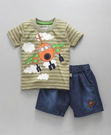 Olio Kids Half Sleeves Stripe T-Shirt With Denim Shorts - Olive Green & Navy