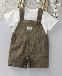 ToffyHouse Half Sleeves Tee With Map Print Dungaree - Brown