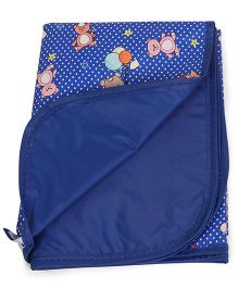 Mee Mee Bed Protector Plastic Mat Teddy Print - Royal Blue