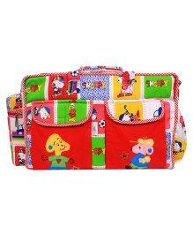 Ole Baby Multi Utility Embroidered Jumbo Diaper Bag - Red