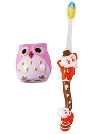 Ole Baby Tooth Brush With Owl Shaped Sharpener - Red