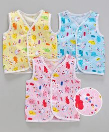 Babyhug Sleeveless Printed Jhabla Pack of 3 - Yellow Blue Pink