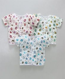 Babyhug Half Sleeves Vests Animal Face Print Set of 3 - Blue Green Pink