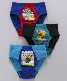 Mustang Briefs Minions Print Pack Of 3 - Blue & Red
