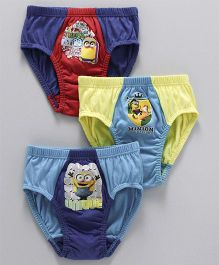 Mustang Briefs Minions Print Pack of 3 - Red Blue Yellow