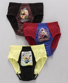 Mustang Briefs Minions Print Pack Of 3 - Yellow Red Brown