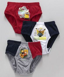 Mustang Briefs Minions Print Pack Of 3 - Grey Red White