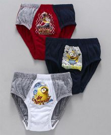 Mustang Briefs Minions Print Pack Of 3 - White Navy Red