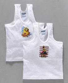 Mustang Sleeveless Vest Minions Print Pack Of 2 - White