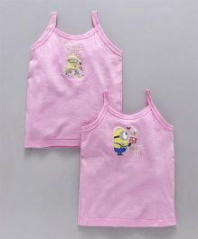 Mustang Singlet Slip Minion & Flower Print Pack Of 2 - Pink
