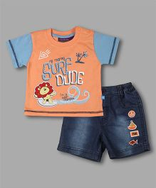 Chocolate Baby Surf Print Tshirt With Shorts - Orange