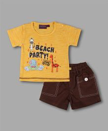 Chocolate Baby Animal Print T-Shirt With Shorts - Yellow