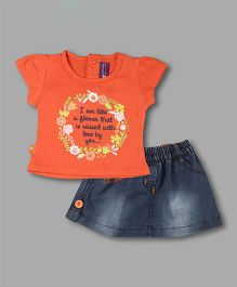 Chocolate Baby Quote Print Top With Skirt - Orange