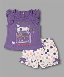 Chocolate Baby Jar Print Top With Polka Dots Shorts - Purple