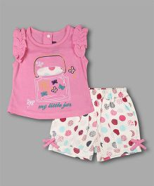 Chocolate Baby Jar Print Top With Polka Dots Shorts - Pink