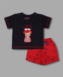 Chocolate Baby Captain Print T-Shirt With Shorts - Navy