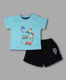 Chocolate Baby Vehicle Print Tshirt With Shorts - Turquoise