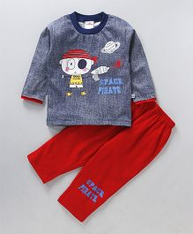 Chumpkin Space Pirate Print Baby's Night Suit - Blue