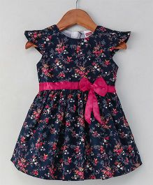 Babyhug Cap Sleeves Frock With Bow Floral Print - Navy Blue