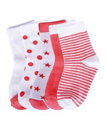 Footprints Super Soft Organic Cotton Socks Pack Of 5 - Red