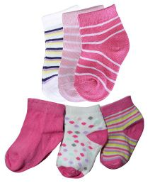 Footprints Super Soft Organic Cotton New Born Baby Socks Pack Of 6 - Multicolor