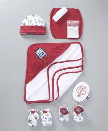 Mee Mee Combo Gift Set of 8 Robot Print & Patch - Red White