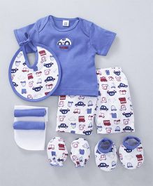 Mee Mee Clothing Gift Set Car Embroidery Blue - 8 Pieces