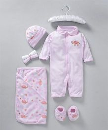 Mee Mee Baby Gift Set Pink Elephant Embroidery - 7 Pieces
