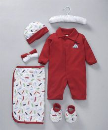 Mee Mee Baby Gift Set Red Car Embroidery - 7 Pieces