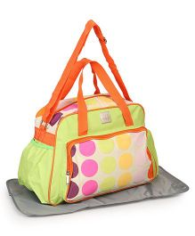 Mee Mee Diaper Bag With Changing Mat Polka Dot Print - Green