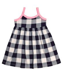 CrayonFlakes Gingham Checks Knit Strap Dress - Navy & White