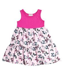 CrayonFlakes Butterflies Print Tiered Knit Dress - Pink