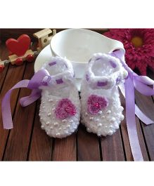 The Original Knit Pearls & Ribbon Booties - White