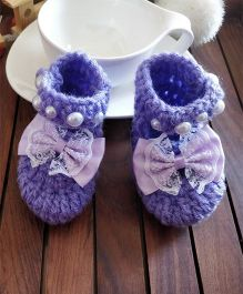 The Original Knit Frilly Big Bow Booties - Purple