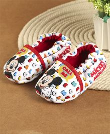 Mickey Mouse And Friends Printed Booties - White And Red
