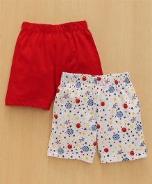 Babyhug Shorts Solid & Space Print Pack of 2 - Red & White