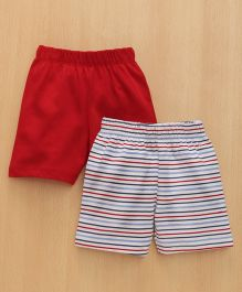 Babyhug Shorts Solid & Stripes Pattern Pack of 2 - Red & Multicolor