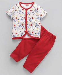 Babyhug Half Sleeves Night Suit Space Print - Red White