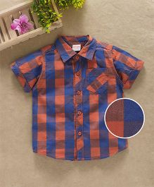 Babyhug Half Sleeves Checks Shirt With One Pocket - Orange Blue