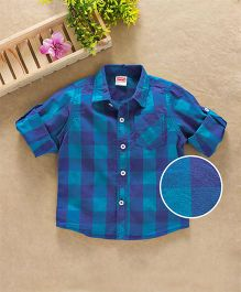 Babyhug Full Sleeves Checks Shirt With One Pocket - Blue