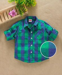 Babyhug Full Sleeves Checks Shirt With One Pocket - Green