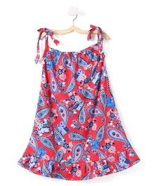 M'Andy Elephant Print Tie Knot Dress - Red