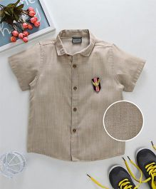 Rikidoos Collared Shirt With Patch - Khaki