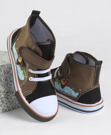 Cute Walk by Babyhug Canvas Shoes Rocket Motif - Brown Navy Blue