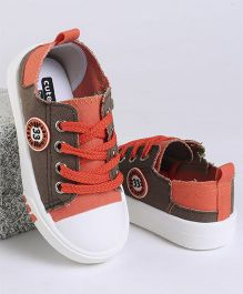 Cute Walk by Babyhug Casual Canvas Shoes - Brown & Orange