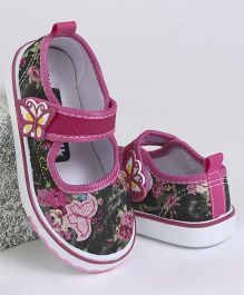 Cute Walk by Babyhug Casual Canvas Shoes Floral & Butterfly Print - Fuchsia