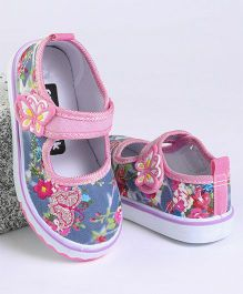 Cute Walk by Babyhug Casual Canvas Shoes Floral & Butterfly Print - Light Pink