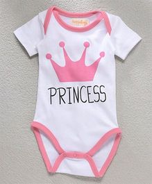 Hugsntugs Princess Onesie - White & Pink