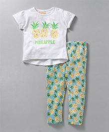 Hugsntugs Top With Pineapple Print Legging - White & Multicolor