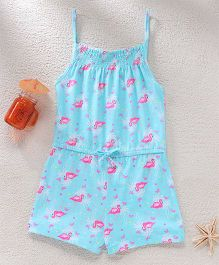 Hugsntugs Flamingo Print Jumpsuit - Blue